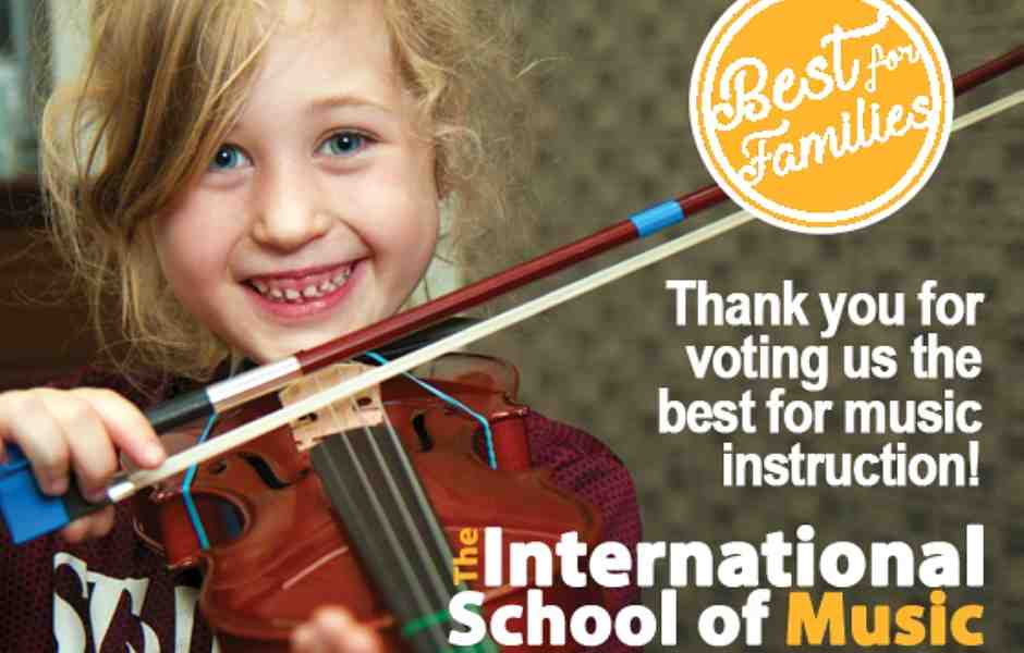 International School of Music voted best for music lessons in Bethesda by Washington Families